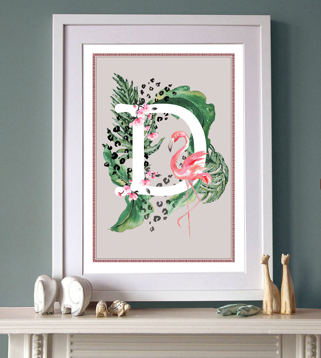 Personalised Tropical Flamingo Initial Print