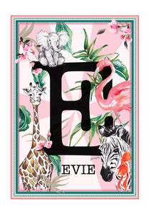 PINK Jungle Themed Initial Print