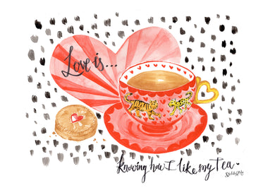 'Love is... knowing how I like my tea' - Leopard and Tiger cuppa with Jammie Dodger