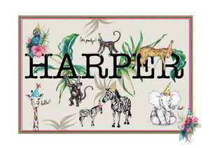 Personalised Name Print 'Jungle Party'