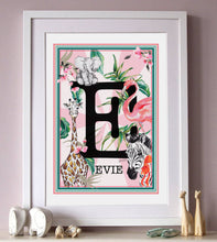 Load image into Gallery viewer, PINK Jungle Themed Initial Print
