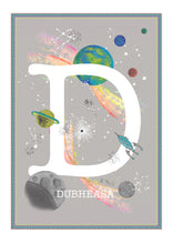 Load image into Gallery viewer, Personalised Space Rainbow Themed Initial Print