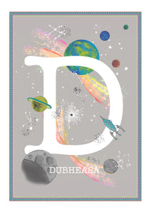 Personalised Space Rainbow Themed Initial Print
