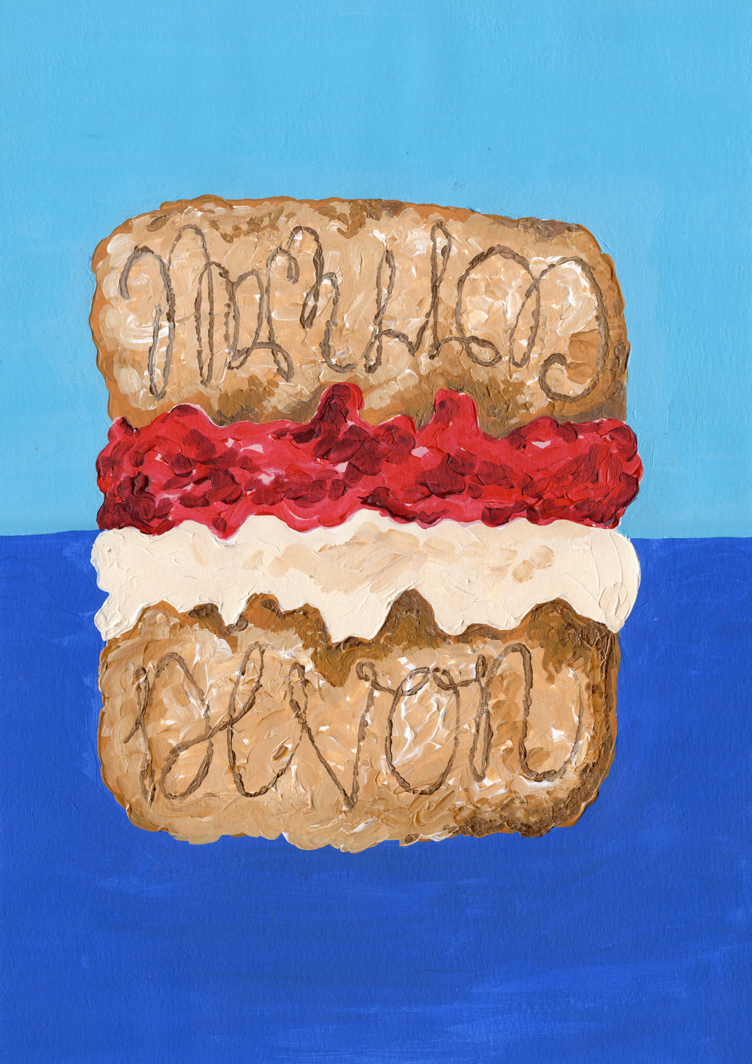 'Cream or Jam' Scone Illustration