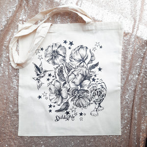 Pen Drawing illustration by Laura Gardener on Canvas Tote Bag