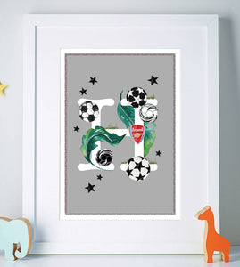Personalised Football Initial Print