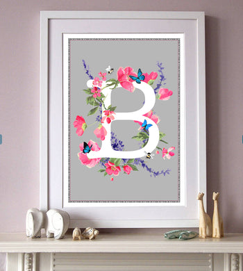 Personalised Blossom Butterfly Initial Print