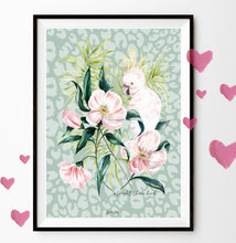 Load image into Gallery viewer, Cockatoo Floral Illustration 'alright there bird'