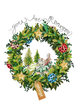 Personalised Dinosaur Wreath Print /Greeting Card