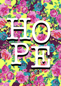 'HOPE' bright floral print