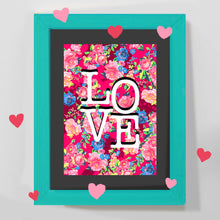 Load image into Gallery viewer, 'LOVE' pink floral print and greeting card
