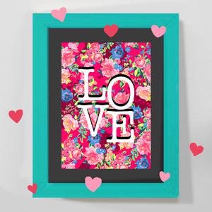 'LOVE' pink floral print and greeting card