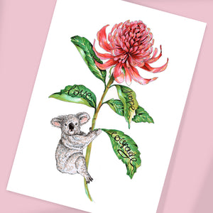 Hope, Love, Courage - Australia Flower (with or without Koala)