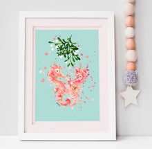 Load image into Gallery viewer, Sea Horse Lovers Print with Mistletoe/sea weed.