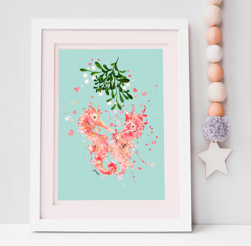 Sea Horse Lovers Print with Mistletoe/sea weed.