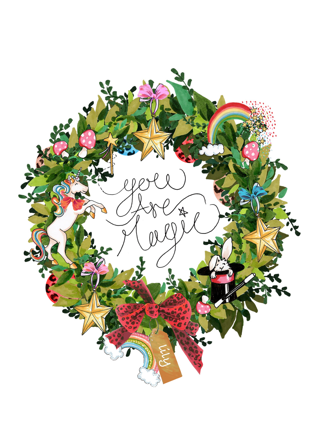 Personalised 'You are Magic' Wreath Print/Card