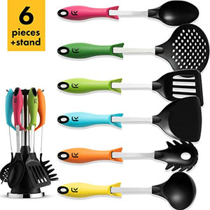 Klee 6-Piece Colorful Nylon Kitchen Utensil Set with Stand