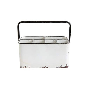 Creative Co-Op Distressed White Metal Caddy with 6 Compartments