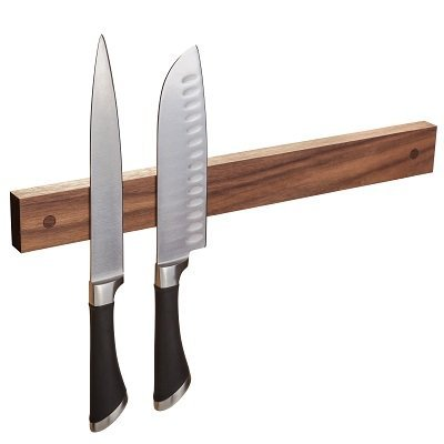 Customized Powerful Magnetic Knife Strip, Wooden Knife Bar. Unique gift Made in USA (Walnut, Custom Length)