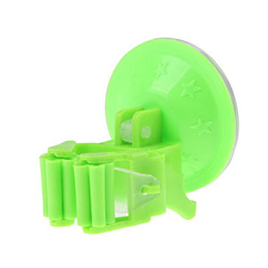 Whitelotous Mop and Broom Holder Wall Mounted Home Kitchen Storage Rack (Green)