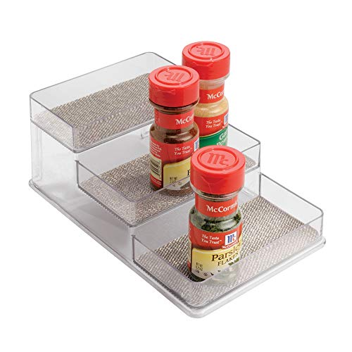 "iDesign Twillo Plastic Stadium Spice Rack, 3-Tier Organizer for Kitchen Pantry, Cabinet, Countertops, Vanity, Office, Craft Room, 10.3"" x 6"" x 4"", Metallico and Clear"