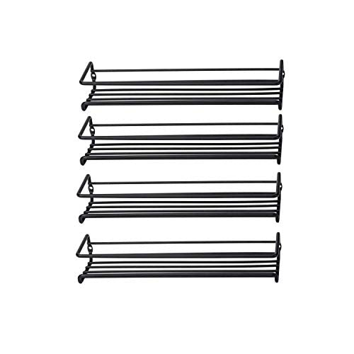Asense 4 Pack Wall Mount Hanging Single Tier Spice Racks Organizers, Hanging Racks for Cabinet or Pantry Door, Under Cabinet, Metal, Black Color