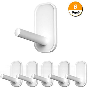 Wall Hooks, 6 Pcs Adhesive Hooks for Hanging, Heavy Duty Hanging Hooks for Coat Towel Robe Backpack, Sticky Hooks Hold 7 lbs, Wall Hanger Without Nails for Smooth Wall, Water-Resistant Utility Hooks
