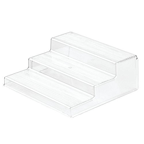 "iDesign Linus Plastic 3-Tier Organizer, Spice Rack for Kitchen Pantry, Cabinets, Countertops, Vanity, Office, Craft Room, 10"" x 8.75"" x 3.50"", Set of 4, Clear"