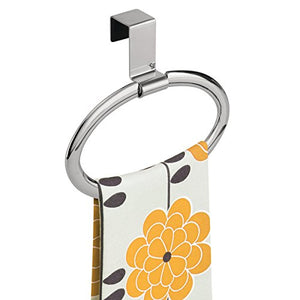 "mDesign Kitchen Over Cabinet Strong Steel Round Towel Holder - Hang on Inside or Outside of Doors, Storage and Organizer Ring for Hand, Dish, and Tea Towels - 6.5"" Wide, Chrome Finish"
