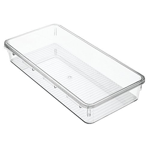 InterDesign Linus Interlocking Drawer Organizer for Kitchen, Office, Bathroom Vanities - Large Wide, Clear