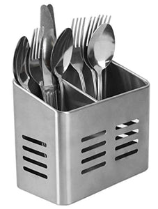 Home Basics Dual Compartment Stainless Steel Draining Cutlery/Utensil Holder Organizer, Free Standing, Kitchen Countertop, Silver (1)