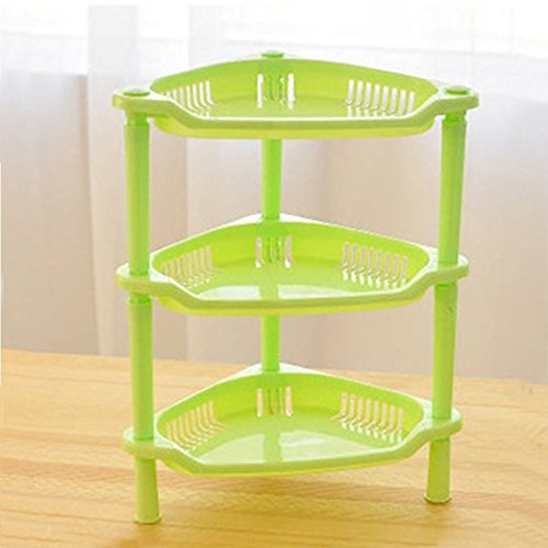 Teanfa 3 Tier Plastic Corner Shelf Organizer Bathroom Kitchen Storage Rack Holder (Green)