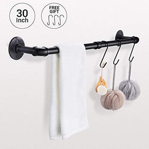 Pipe Black Towel Bar Wall Mounted Extra Long Bathroom Hardware Kitchen Cabinet Towel Rack Clothing Rods