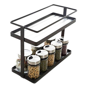 2-Tier Spice Rack Organizer - Kitchen In-cabinet Seasoning Jar Storage Shelf/Bathroom Countertop Stand Racks with Plastic Liner to Support Small Bottles (Deep Bronze)