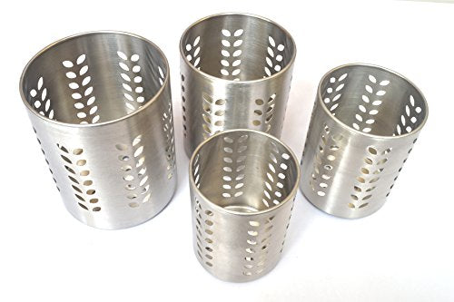 PRC Stainless Steel Utensil Organizer Caddy - Organize Your Silverware, Cutlery, Cooking Utensils and Gadgets With a Large Commercial Restaurant Quality Flatware Caddy Holder Set 0f 4