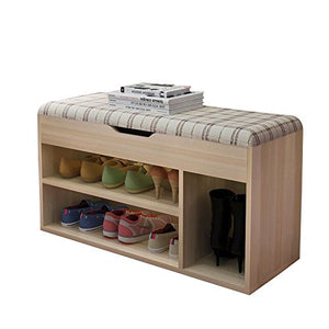 "Polar Aurora Hall Shoe Rack Storage Bench Sponge Padded Seat 4 Compartments 31.5L/17"" H Checks"