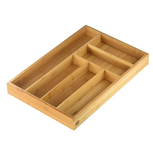 YBM HOME Bamboo Cutlery and Knives Tool Tray with 6 Compartments, Perfect Kitchen Drawer Organizer for Silverware, 341