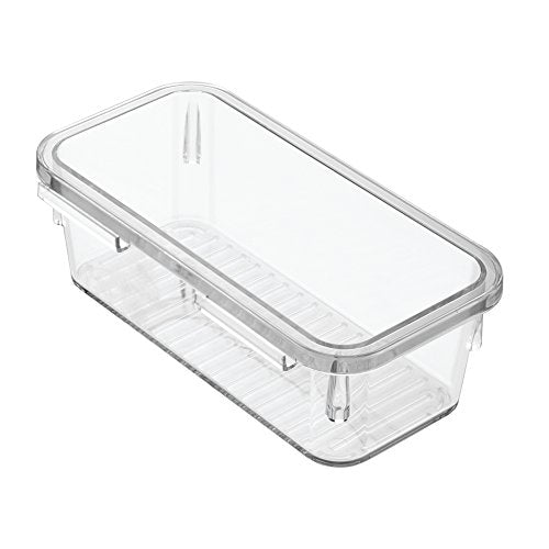 InterDesign Linus Interlocking Drawer Organizer for Kitchen, Office, Bathroom Vanities - Small, Clear