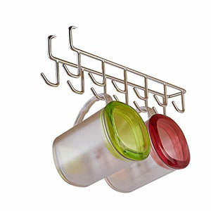 ISKYBOB 12 Hook Under Shelf Mugs Cups Storage Drying Holder Rack,Cabinet Hanging Organizer Rack for Ties Belts
