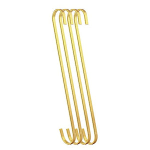 RuiLing 4-Pack 12 Inch Steel Hanging Flat Hooks - Gold Chrome Finish S Shaped Hook Heavy-Duty S Hooks,Multi-Purpose Kitchenware, Pots, Utensils, Plants, Towels, Tools, Clothes