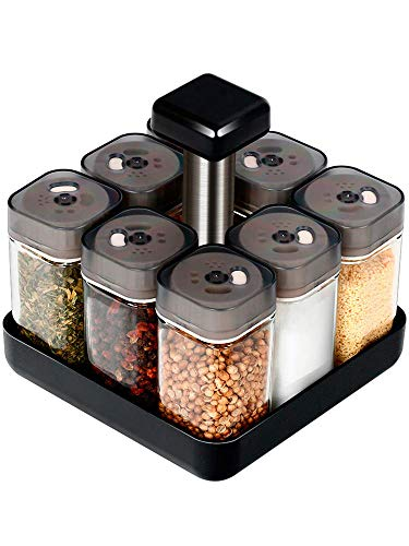Revolving Spice Rack Organizer Caddy, Rotating Spice Storage for Cabinet and Kitchen, 8 Jar Herb and Spice Countertop Spice Rack(Spices Not Included)