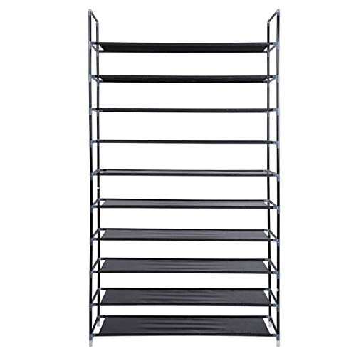 SoSo-BanTian1989 Black 10 Tiers Shoe Rack 50 Pairs Non-woven Fabric Shoe Tower Storage Organizer Cabinet