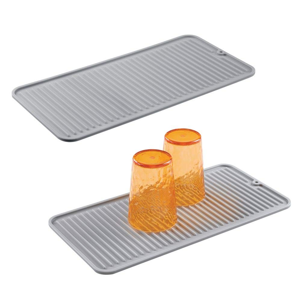 mDesign Silicone Dish Drying Mat and Protector for Kitchen Countertops, Sinks - Ribbed Design - Non-Slip, Waterproof, Heat Resistant, Dishwasher Safe - Small - 2 Pack - Gray