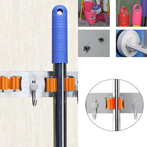 Mop Broom Holder Organizer with 4 Hooks for saving space, Stainless Steel Heavy Duty Broom Mop Handle Holder for Kitchen Garage