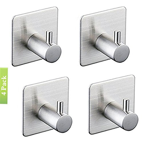3M Self Adhesive Hooks, Heavy Duty Stainless Steel Key Robe Towel Hooks, Wall Mount Coat Hook Hat Hook, Waterproof, Rustproof for Kitchen Bathroom Toilet Lavatory Closets Organizer(Pack of 4) (D)