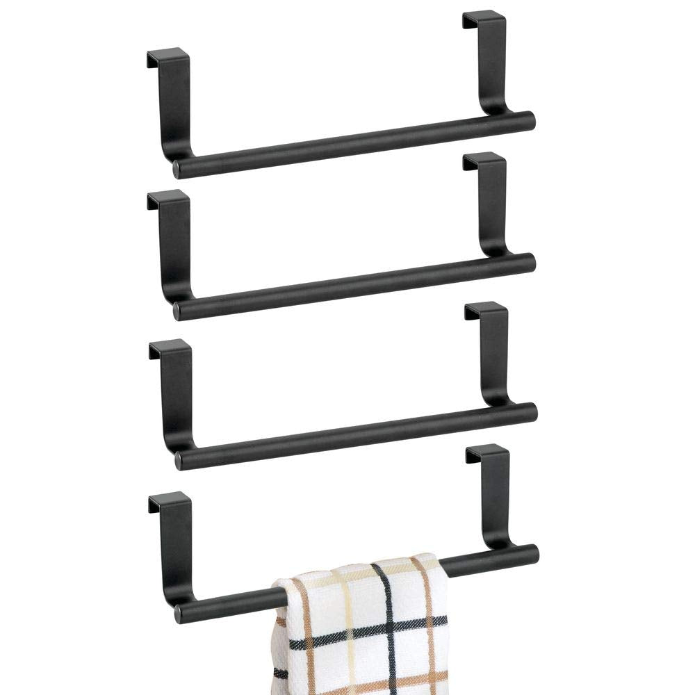 "mDesign Decorative Metal Kitchen Over Cabinet Towel Bar - Hang on Inside or Outside of Doors, Storage and Display Rack for Hand, Dish, and Tea Towels - 9.8"" Wide, 4 Pack - Matte Black"