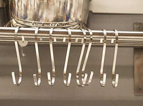 Daratarin Flat S Hooks Heavy Duty Solid Stainless Steel S Shaped Hanging Hooks,Metal Kitchen Pot Pan Hangers Rack Hooks