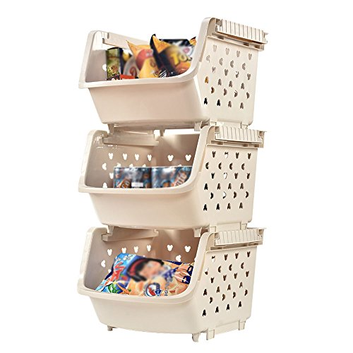 Baiyun flyin Storage Towers 3 Layers Plastic Kitchen Racks Fruit And Vegetable Storage Baskets Bathroom Clothing Organizer Bookshelf Removable Assembly 3 Colors Optional Size 33.53671cm