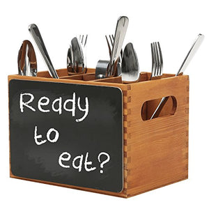 4 Compartment Wood Utensil Storage Caddy with Chalkboard Front Panel and Cut-Out Handles