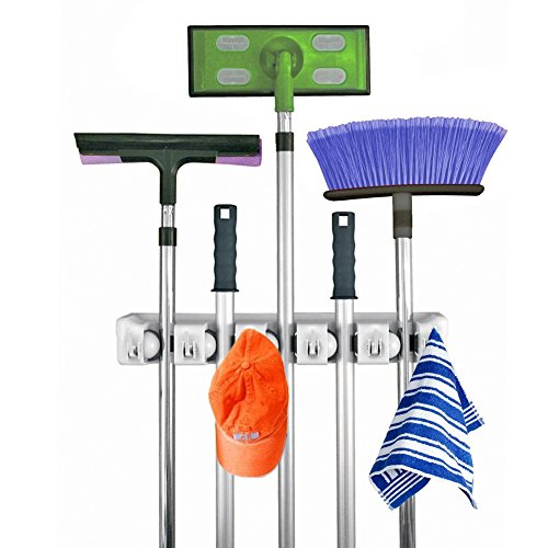 QANGEL Broom Mop Holder, Garage Storage Hooks Wall Mounted Organizer for Shelving Ideas 5 Positions 6 Hooks